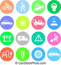 Traffic application icons in color circles - Traffic icons...