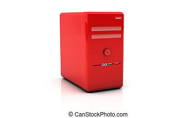3d red desktop pc on white background