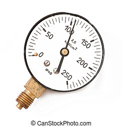 Pressure measuring instrument isolated on a white...