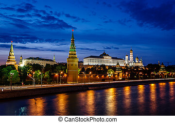 Moscow Kremlin and Moscow River Illuminated in the Evening,...