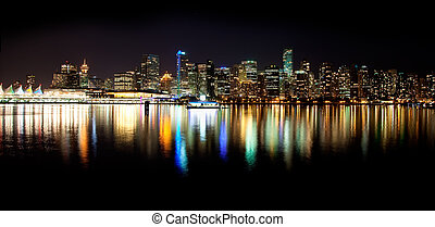 Vancouver Skyline at Night - Shot from Stanley Park on a...