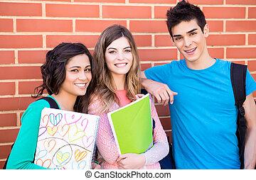 Studenten, Gruppe, junger,  campus