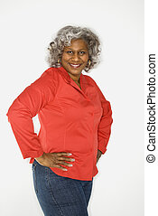 Smiling mature woman - Mature adult African American female...