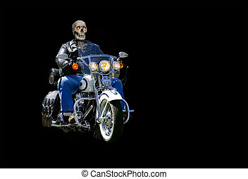 Motorcycle Horror - Skeleton in full riding gear driving a...