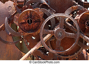 Old rusty machinery - Rusty old metal machinery, metal scrap