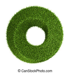 Green grass abstract shape donut - Photo realistic grass...