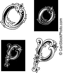 Letters O and P with floral embellishments