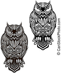 Owl bird tattoo - Owl bird in tribal style for tattoo or...