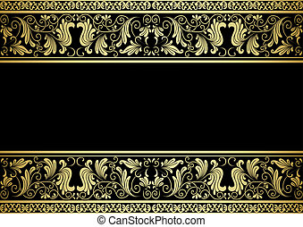 Gilded frame with decorative elements in retro style for...