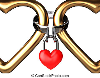 Eternal Padlock Frame - Two big golden hearts are eternally...