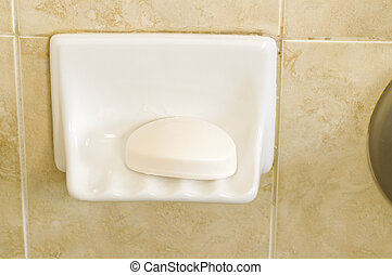 Bar of Soap in Shower Dish
