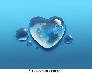 water world - water drop in the shape of heart with the...