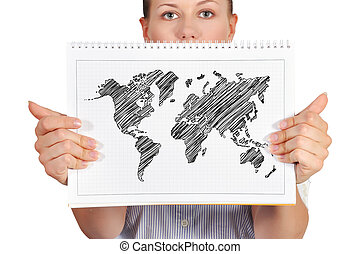 note pad with world map - woman holding note pad with world...