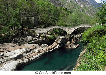 Lavertezzo bridge - Pedestrian walkway in Lavertezzo,...