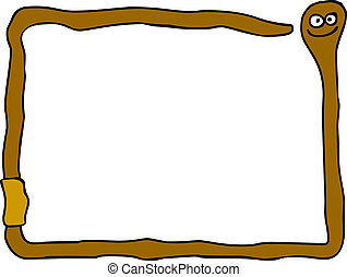 funny earthworm - funny cartoon worm frame - illustration