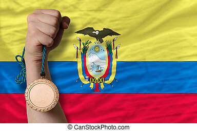 Bronze medal for sport and national flag of ecuador -...