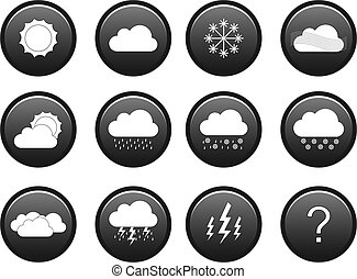 Weather icon set - Grayscale weather icon set including 11...