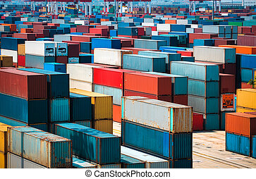 lots of cargo freight containers - very many containers in...