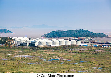 oil tanks at the port in shanghai