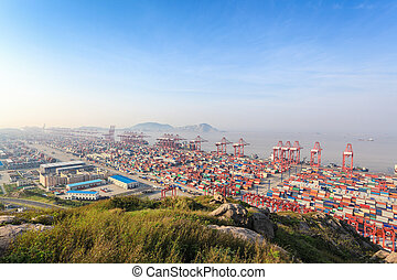 container terminal - a panoramic view of the container...