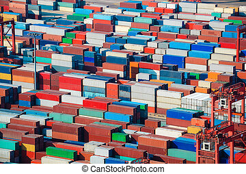 lots of cargo freight containers in shanghai sea port