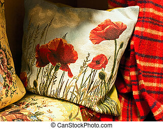 pillow with poppy - gobelin pillow with poppy near the red...