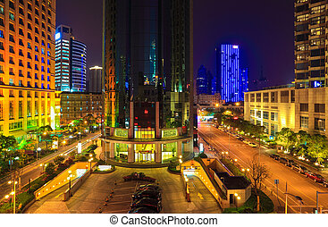 brilliantly illuminated in shanghai - ablaze with lights...