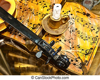 Music interior in old style - Music interior with notes,...