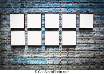 endless frame in a exhibition wall - empty picture frame on...