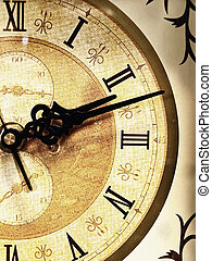 old clock - photo of the half of old clock face
