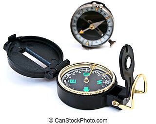 compasses - two compasses against the white background