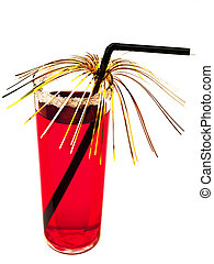 decorated coctail - decorated red coctail against the white...