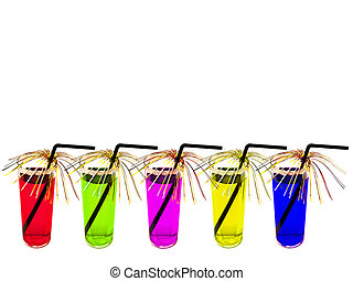 multicolored coctails - row of the decoraited multicolored...