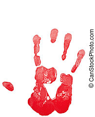 hand print in red against the white background