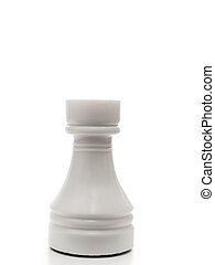 white rook - single white rook in chess against the white...