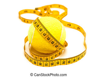 meter over tennis-bal - photo of the yellow tailor meter...
