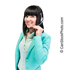 Caucasian business woman with headset isolated - Headset...
