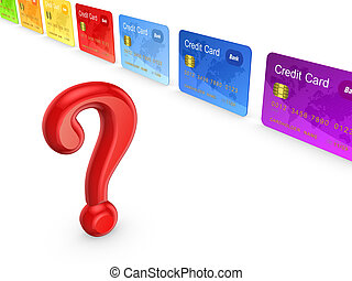 Red query mark and colorful credit cards.Isolated on...