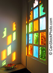 windiow with multicolored glass in India - windiow with...