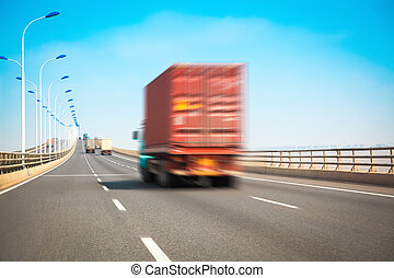 container truck on the highway bridge - container truck with...