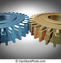 Business Teamwork concept with two merged gears or cog...