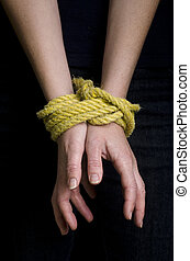 Human trafficking - Concept Photo - Hands of a missing...