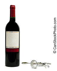 cavatappi, bottiglie, rosso, vino