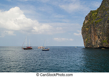 Phi phi island - Sailboats at phi phi island with cloudy...