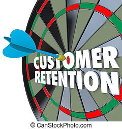 Customer Retention Dartboard Perfect Dart Hit - The words...