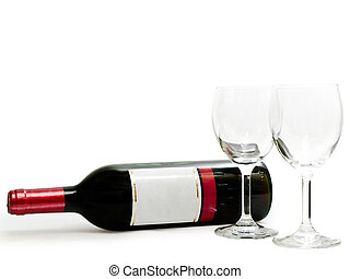 red wine with wineglasses - bottle of the red wine with...