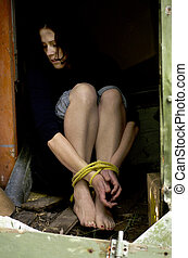 Human trafficking - Concept Photo - Missing kidnapped,...