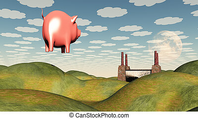 Factory and floating pig
