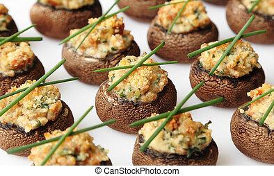 Stuffed Mushrooms - Baked mushroom caps stuffed with...