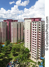 Pink Estate - A vertical shot of a pink estate with park and...